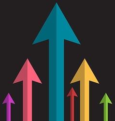 Arrows Upwards Paper Colorful Arrow Group on Dark vector image