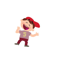 Cartoon character of a cheerful white boy with red vector