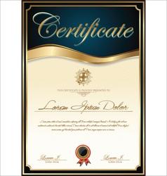 Elegant blue certificate template vector image vector image