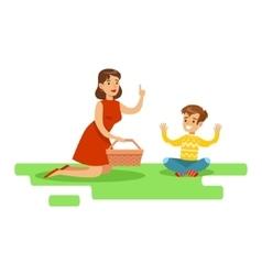 Mom And Son Having Picnic Happy Family Having vector image