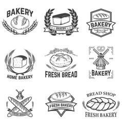 set of bakery labels bread shop fresh bread vector image vector image