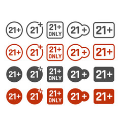 21 plus years old icon set adults content signs vector