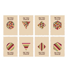 314retro geometric cover set vector image