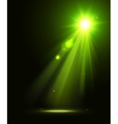 Abstract disco background with green spot lights vector image
