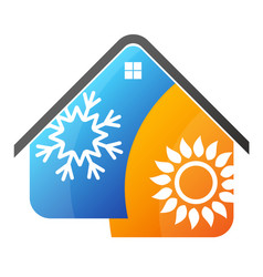 Air conditioning sun and a snowflake in the house vector