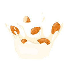 almond with milk splash icon healthy eating vector image