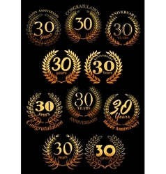 Anniversary golden laurel and olive wreaths icons vector image