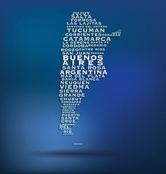 Argentina map made with name of cities vector image