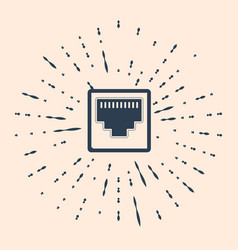 Black network port - cable socket icon isolated on vector