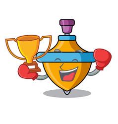 Boxing winner spinning top mascot cartoon vector