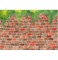 Brick wall watercolor hand painting background vector
