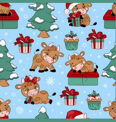 bull and christmas tree seamless pattern vector image