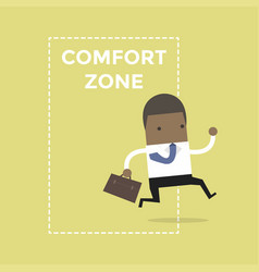 Businessman jumping out of the comfort zone vector
