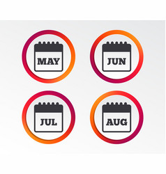 Calendar may june july and august vector