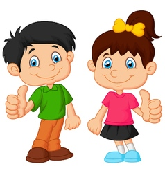 Cartoon boy and girl giving thumb up vector image
