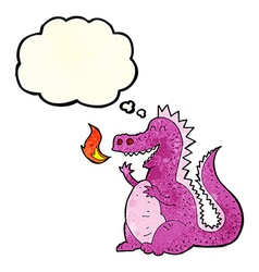 Cartoon fire breathing dragon with thought bubble vector