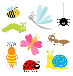 Cartoon insect set Ladybug dragonfly butterfly vector