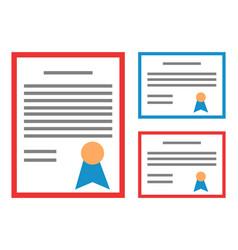 Certificate icons set achievement diploma vector
