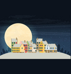 Christmas city greeting card - snowy street vector