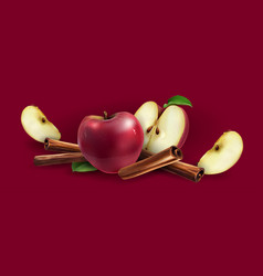 Cinnamon and red apples vector