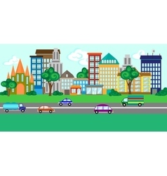 City street with a set of buildings and vehicles vector