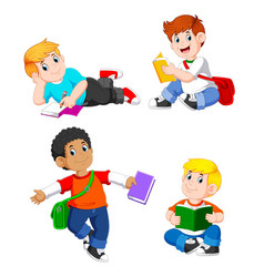 collection boy study with their books vector image