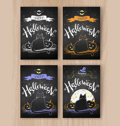 Collection of halloween postcards vector