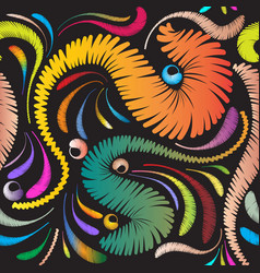 colorful abstract embroidery seamless pattern vector image