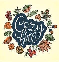 cozy fall autumn card vector image