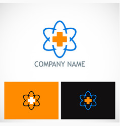 cross medic technology logo vector image