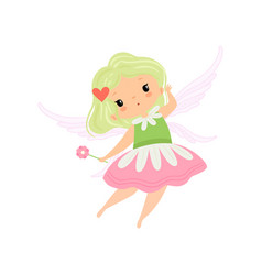 Cute little winged fairy beautiful girl character vector
