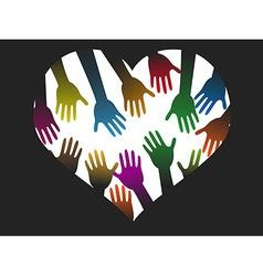 Diversity color hands heart vector
