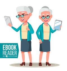 E-book reader old woman electronic gadget vector
