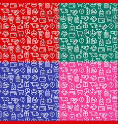 e-commerce seamless patterns vector image