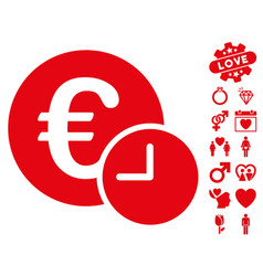 euro credit icon with love bonus vector image