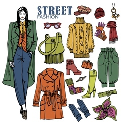 Fashion girl and street clothing setColored vector image