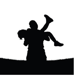 father holds a daughter in his arms vector image