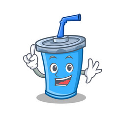 Finger soda drink character cartoon vector