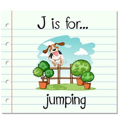 Flashcard letter j is for jumping vector