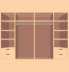 flat design walk in closet with shelves vector image