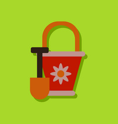 Flat icon design shovel and bucket in sticker vector