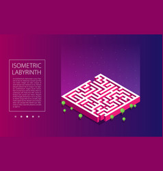 Flat isometric labyrinth vector