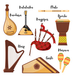 Flat style set of various traditional folk musical vector