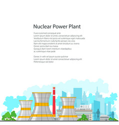 Flyer nuclear power plant on white background vector