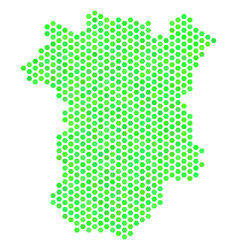 Green hex-tile chechnya map vector