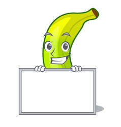 Grinning with board green banana cartoon in the vector