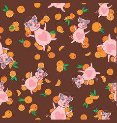 happy pig in bright oranges pattern vector image