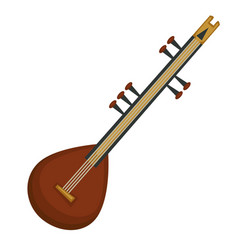 indian national sitar stringed musical instrument vector image