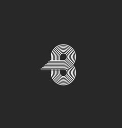 Initial b letter monogram in stylish style vector