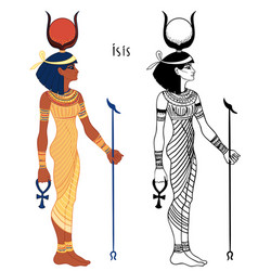 isis goddess life and magic in egyptian vector image